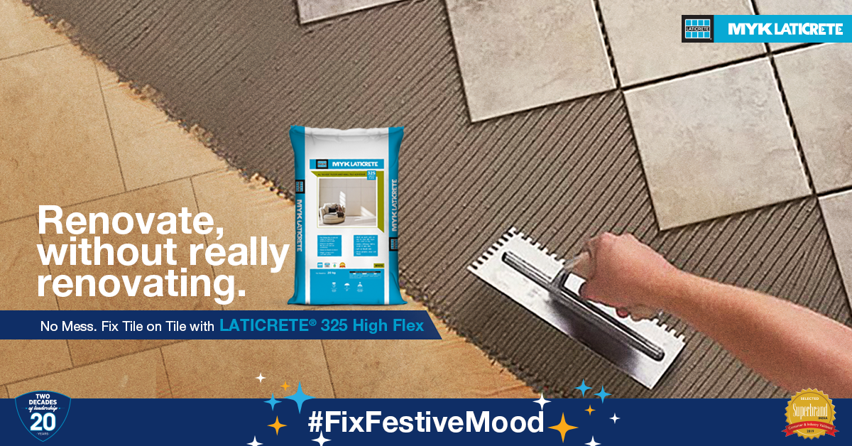 Renovate your home interiors this festive season by fixing tile on tile with MYK LATICRETE.